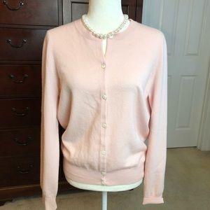 TSE Classic Pink Cashmere Cardigan Sweater Sz L